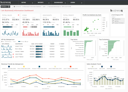 BusinessQ 16 Information Dashboard Example