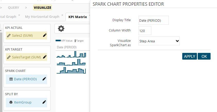 KPI Matrix Spark Chart editor